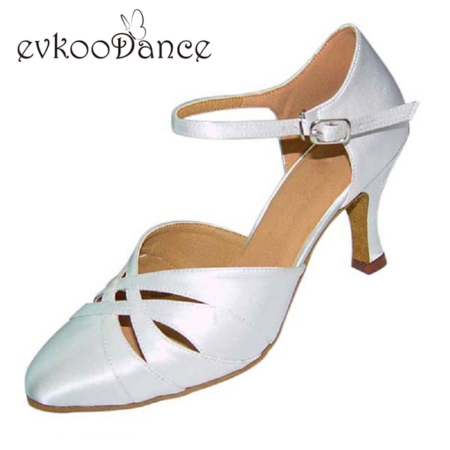 Size US 4-12 Zapatos De Baile Heel Height 7cm White Black Silver Khaki Tan  Brown Professional Ballroom Dance Shoes Satin NB014 4c292e163bbc