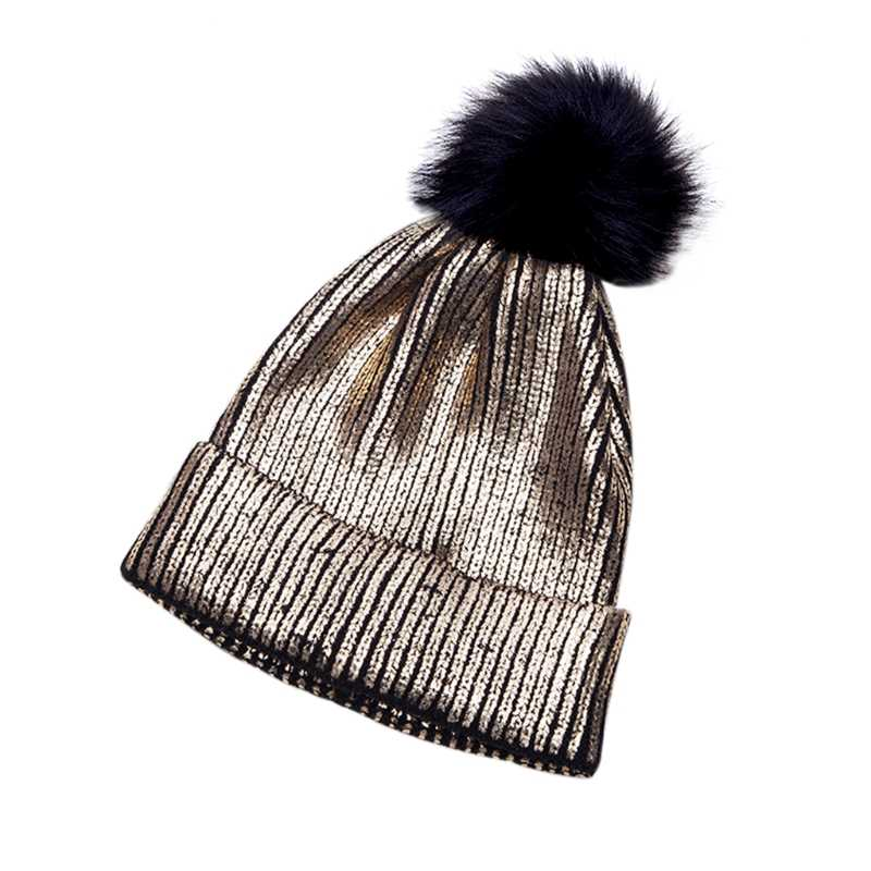 Detail Feedback Questions about Women Girls Knitted Crochet Beanie Hat With  Pom Pom Winter Warm Metallic Shiny Beanie Hat Caps New 2018 Fashion Lady  Girl ... 645845a249b