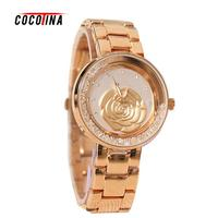 COCOTINA Luxury Brand Ladies Alloy Bracelet Band Quartz Watches Flowers Gold Plated Dial Wristwatches For Women
