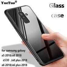 YUETUO ТПУ закаленное стекло телефон назад capinha, etui, coque, крышка, чехол для samsung galaxy a5 a6 a8 плюс 2018 a6plus a530 аксессуары