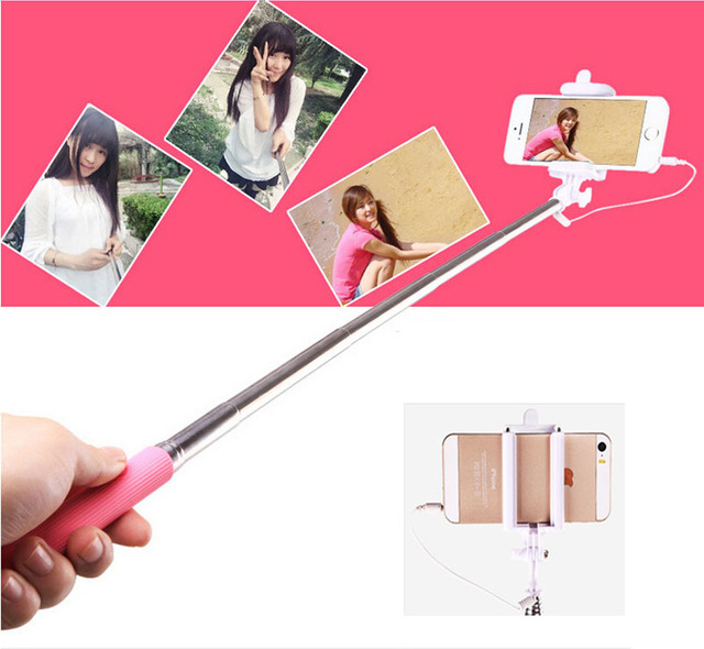 Wired Selfie Stick Handheld Monopod Built-in Shutter Extendable + Mount Holder For iPhone Samsung Smartphone Any Phones Camera