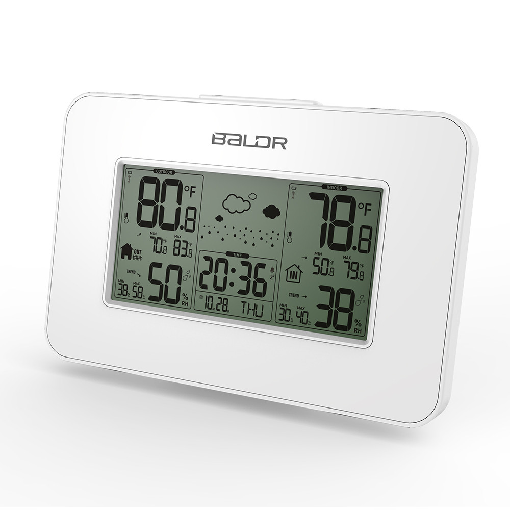 39ab5599a Baldr LCD inalámbrico Interior Exterior temperatura humedad Sensor Snooze  despertador reloj Digital higrómetro estación meteorológica termómetro
