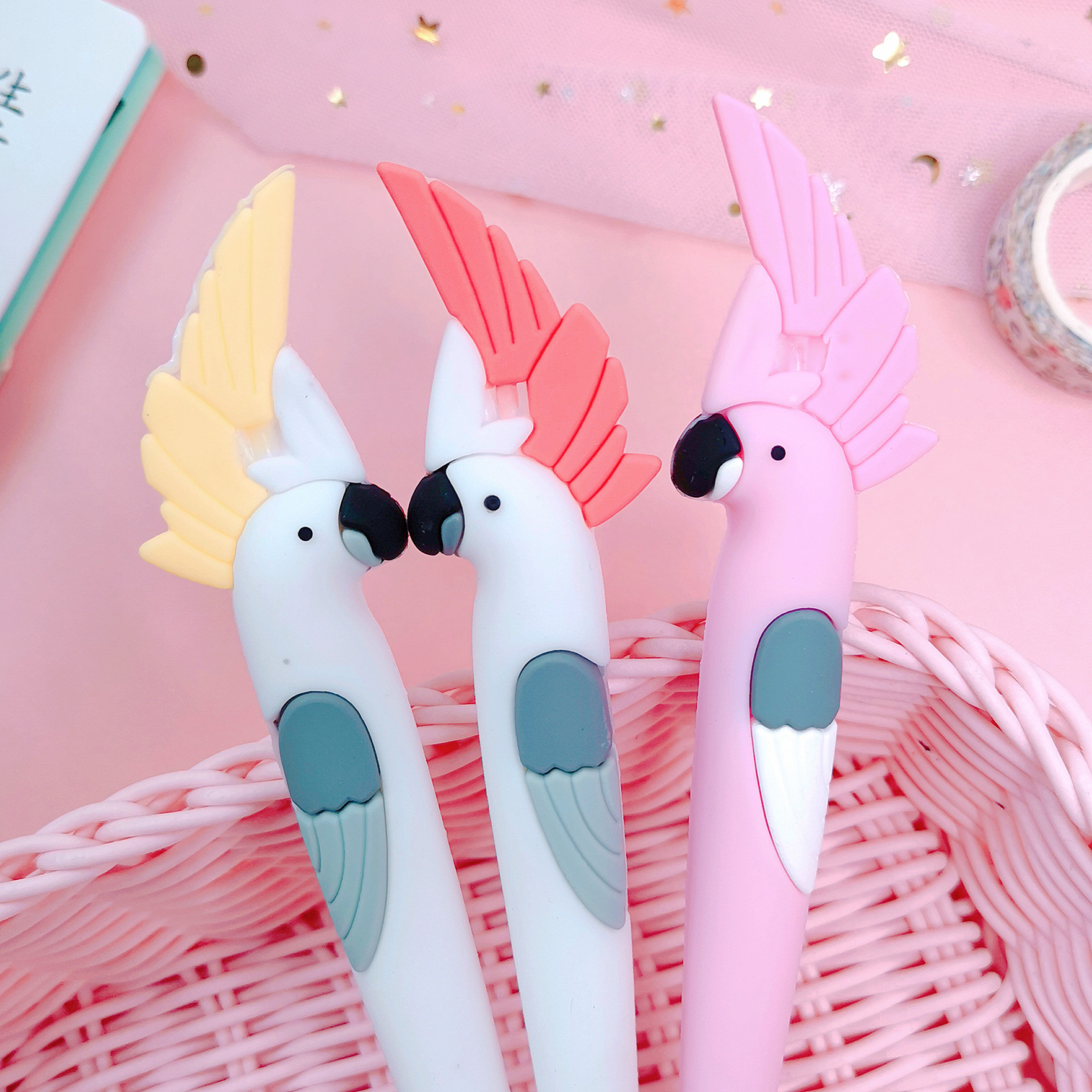 1 Pcs/lot Korean Cute Kawaii Cartoon Parrot Gel Pen 0.55mm Black Ink Writing School Supply Stationery