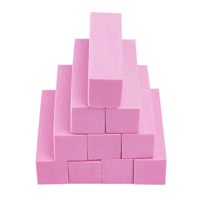 1/2/5/10 pc Pink Form Nail Buffers File For UV Gel White Nail File Buffer Block Polish Manicure Pedicure Sanding Nail Art Tool 3