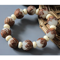White Bodhi Seed Tibetan Buddhist  Prayer Beads Carve Lotus Mala Buddha Bracelet Rosary Wooden Bangle Jewelry