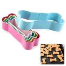 Cortador de biscoito de aço inoxidável, 5 peças, molde de osso de cão, conjunto de cortadores de biscoito para crianças, malitos para bolo e biscoito ferramentas de decoração
