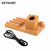 SZYSGSD Bamboo Wood Charger Station for Apple Watch Charging Dock Station Charger Stand 5V 1A for iPhone iPad Dock Stand Cradle