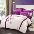 2015 Novo 100% algodão penteado bordado capa de edredão de algodão conjunto de cama Chinês lotus