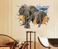 Venta directa Al Por Mayor Perspectiva 3D Elefante Creativo Pegatinas de Pared Para Niños Habitaciones Decoración CT177
