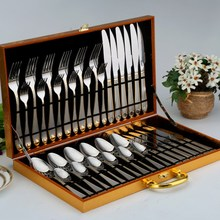 36pcs/Set Food Tableware Full Set Stainless Steel Steak Knife And Fork Spoon Set Luxurious Western Style Christmas Gift