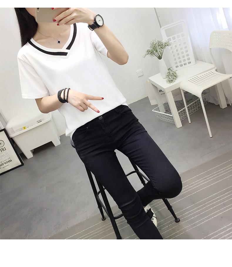 4XL 5XL Plus Size Korean Women's Clothing Fashion Big Size T-shirt Female V neck Short Sleeve Casual obesity Tee Shirt Top Femme 39