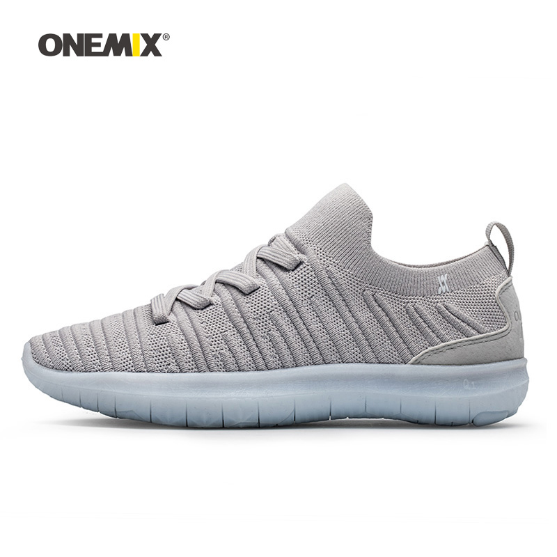 Onemix Man Running Shoes for Men Gray Socks Loafers Mesh Air Designer Breathable Jogging Sneakers Outdoor Sport Walking Trainers onemix woman running shoes for women white mesh air breathable designer jogging sneakers outdoor sport walking tennis trainers