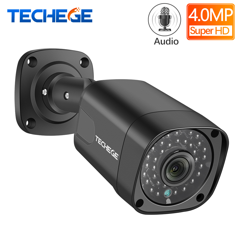 Techege Audio Security IP Camera POE Super HD 4MP H.265 ONVIF Outdoor Waterproof CCTV Camera Video Surveillance Home For POE NVR