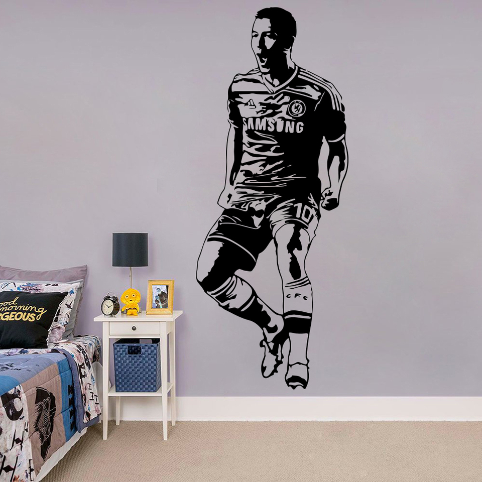 Large Eden Hazard Celebrating Footballer Wall Sticker Nursery Kids Room England Soccer Player Sport Wall Decal Bedroom Vinyl Art Wall Stickers Aliexpress
