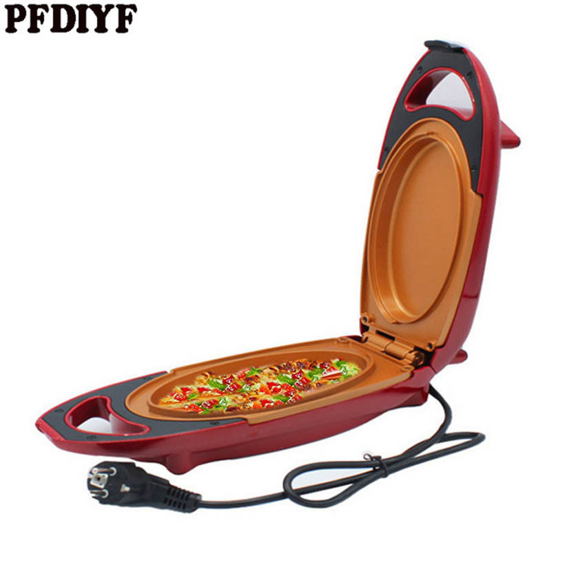 5 Minutes Chef Electric Frying Pan With Cover Red Nonstick Copper Pan for Pizza Snack Pancake Smokeless Steak Grill Pot