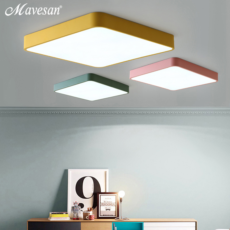 LED Ceiling Lights black white pink yellow green color for the living room bedroom the hall modern ceiling lamp only 5cm heigh noosion modern led ceiling lamp for bedroom room black and white color with crystal plafon techo iluminacion lustre de plafond
