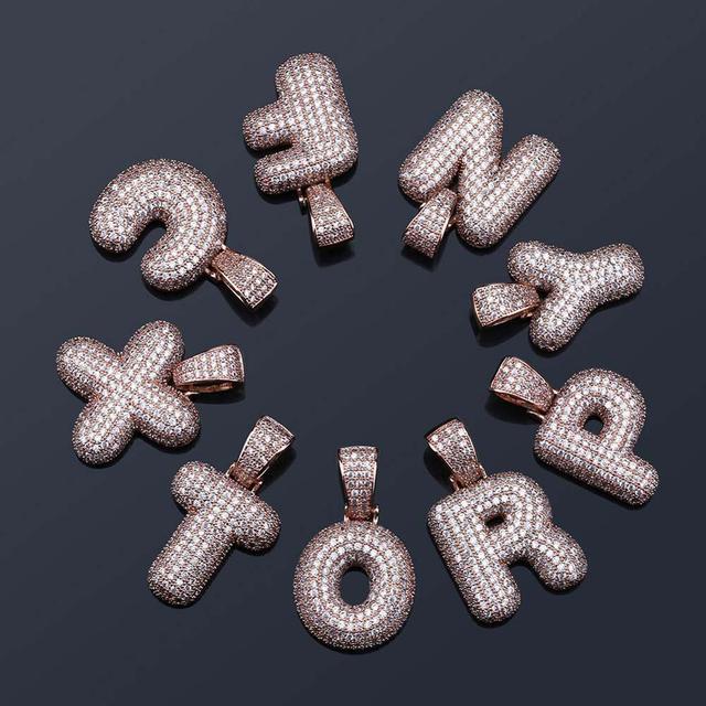 Cubic Zircon Letters Pendant Necklaces 10