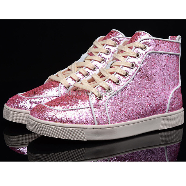 1b390e24a74 Red Bottom Men Shoes RANTUS ORLATO FLAT GLITTER MENS HIGH TOP SNEAKERS PINK