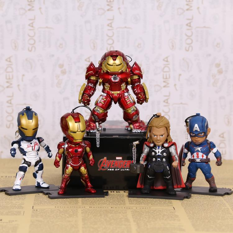 KIDS NATIONS Avengers Age of Ultron Hulk Buster Iron Man Thor Captain America Q version Action Figures 5pcs/set HRFG430  kids nations avengers age of ultron hulk buster iron man thor captain america q version action figures 5pcs set kb0383