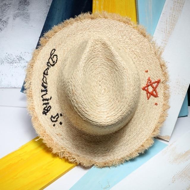 Женщины Летнее Солнце Шляпу Моды Заусенцев Края Письмо Вышивка Рафии, Панамы, Шляпы Пляжа Складной Meisjes Hoed Стро