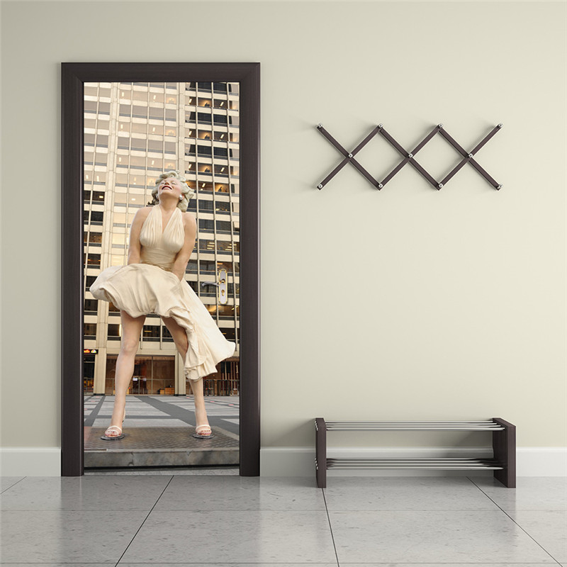 Marilyn Monroe Wall Poster PVC Waterproof DIY Wall Art Imitation 3D Door  Sticker Creative Home Decor ...