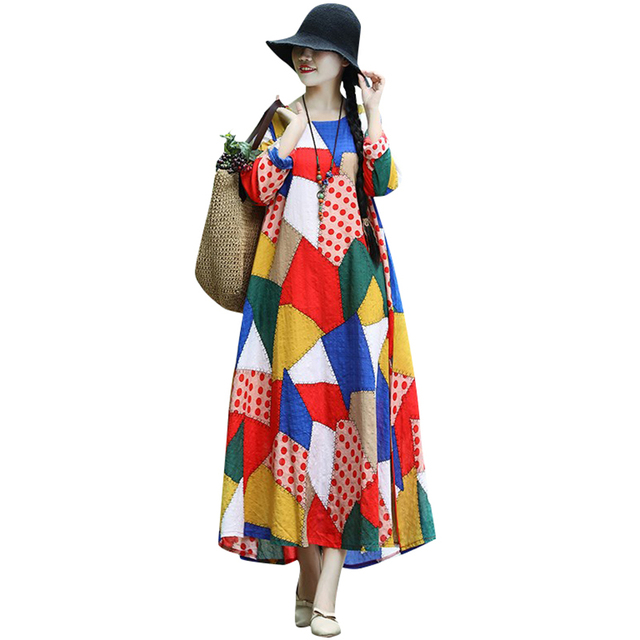 7d6d0fe432ebf6b New Plus Size Women Irregular Colorful Plaid Dot Polka Print Dress Autumn  Long Sleeve Loose Maxi