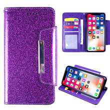 Wiko Y80 Wiko Y60 Cover Wallet Case met Card Pocket Kickstand Glitter Glossy Cover Case met Lanyard voor Wiko Y60 telefoon Case(China)