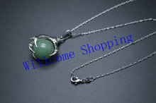 Green Aventurine Ball Beads Dragon Claw 18 Inches Length Chain Man Pendant Necklace