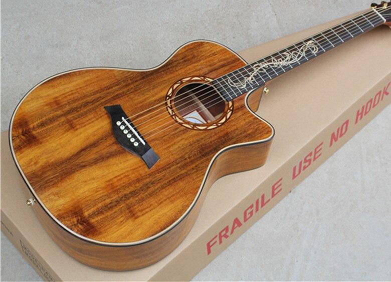 Usine Personnalisé 41 ''coupe brun Guitare Acoustique avec solide Koa top peut ajouter Fishman ramassage EQ