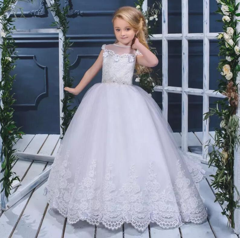New Customized Size Flower Girl Dresses For Wedding Lace Applique with Sash Beads Lace Girls Communion Gown цена 2017