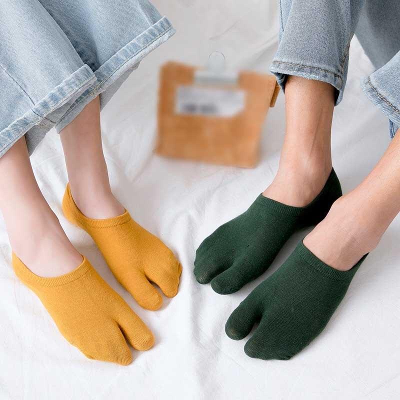 La MaxPa Summer Women Non-slip Silicone Cotton Socks Flip Flop Toe Socks Breathable Mesh Two Fingers No Show Socks K1426