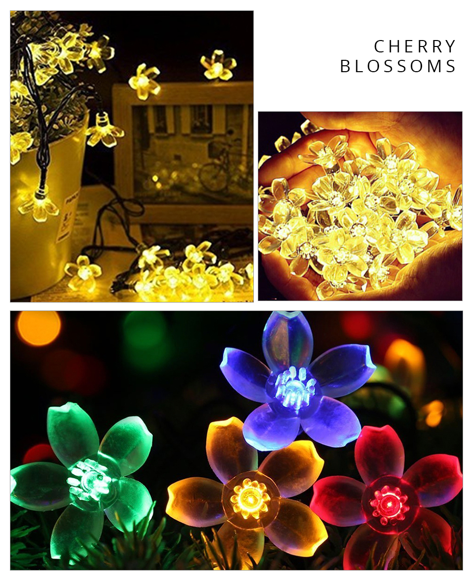 Peach Flower LED Solar Lamp Fairy String Light Outdoor Decoration Holiday Party Lights For Garden Christmas Tree Lawn Landscape (12)