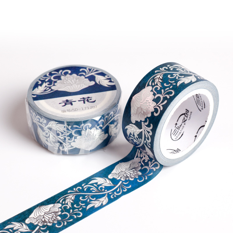 MaoTu Blue & White Flowers Decorative Washi Masking Tape Vintage Sticky Lipstick Cup Laptop Phone Sticker 23mmx5m Foil Silver