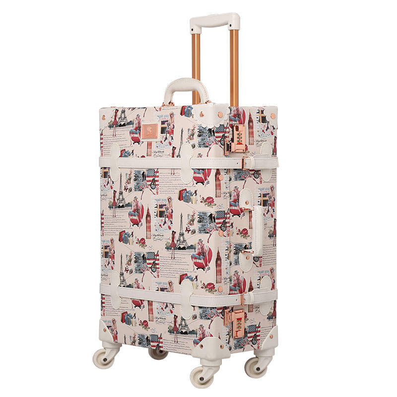 New Style Pu Leather Vintage Suitcase Sets Rolling Trunk Luggage Trolley Case Bag Retro Suitcase Luggage For GirlsNew Style Pu Leather Vintage Suitcase Sets Rolling Trunk Luggage Trolley Case Bag Retro Suitcase Luggage For Girls