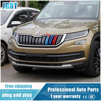 JGRT Car Styling For Skoda Kodiaq 2017 Model High Quality Chrome 3 Colors Front Grille Decoration