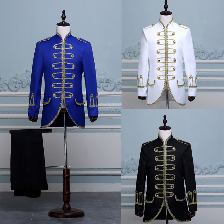 Biamoxer King Prince Renaissance Medieval Men Cosplay Costume Uniform Black White Blue Coat+Pants Full Set