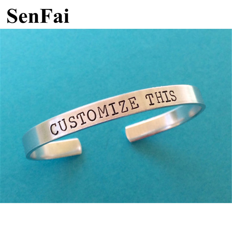 Senfai Custom Bracelet Bangle Name Engraved For Women Men Couples Fathers Day Punk Gothic Silver Bracelets Bangles Jewelry Gift
