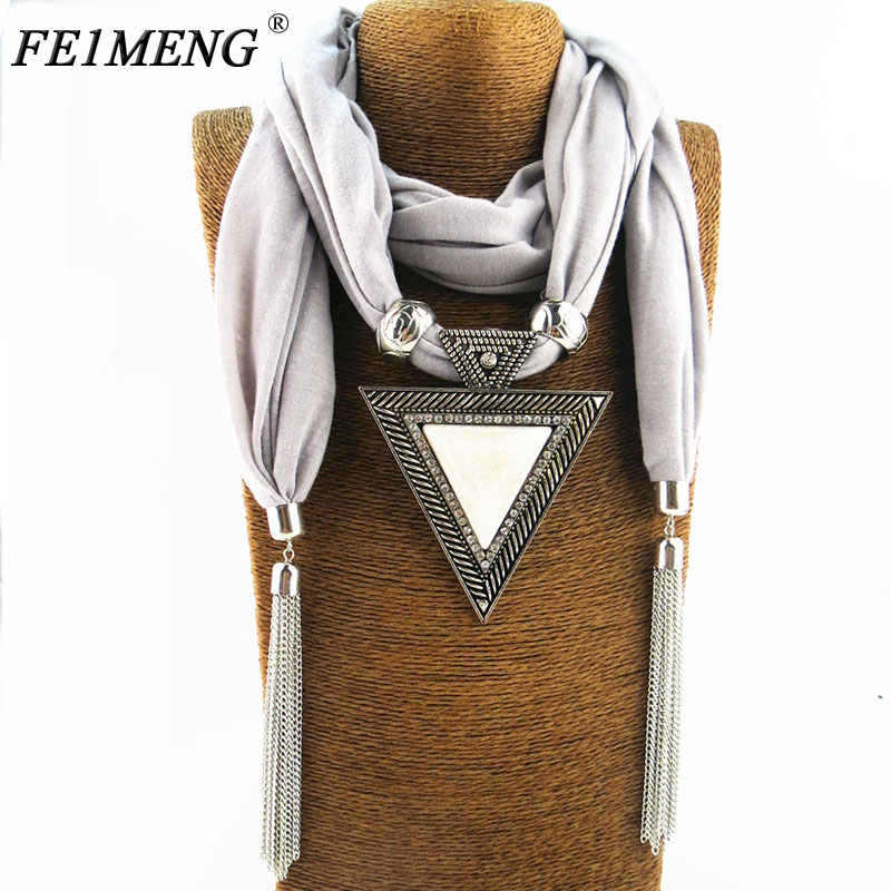Fashion Pendant Scarf Necklace Triangle Crystal Jewelry Statement Maxi Necklaces For Women Girl Colar Muffler Neckerchief Bijoux ahmed new fashion head scarves printing flower pattern chiffon beads scarf necklace for women maxi statement necklaces jewelry