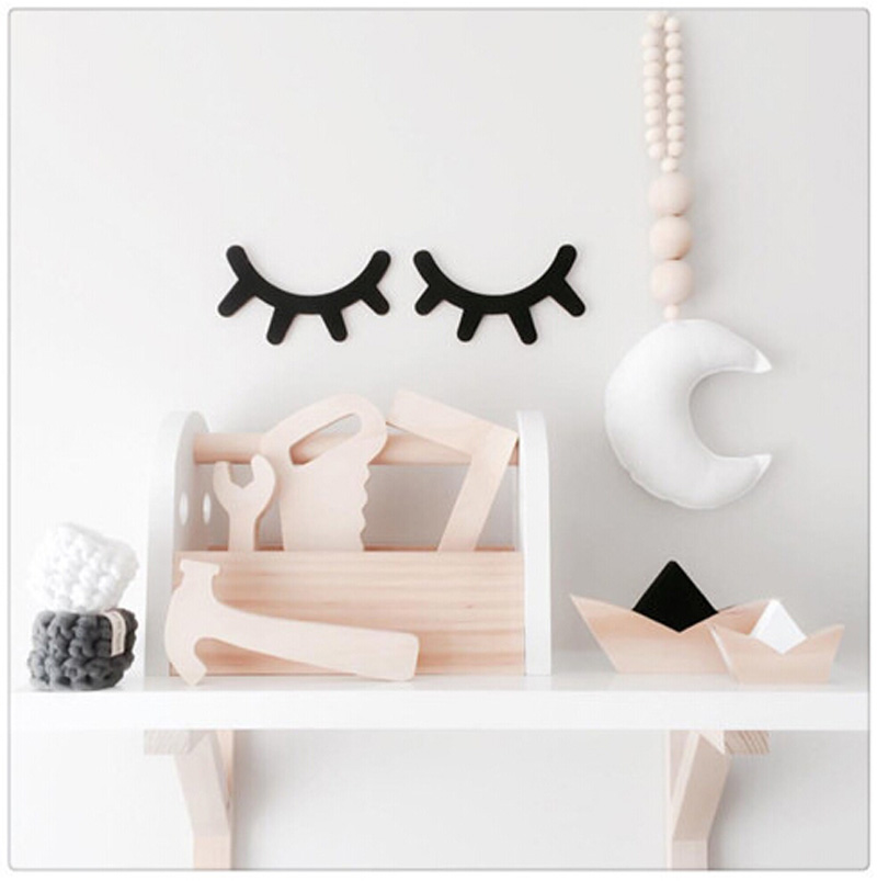 1 Pair Cute wood eyelash wall ornament home Home Furnishing baby room pose decorative Sleepy eyes wooden ornaments kids present