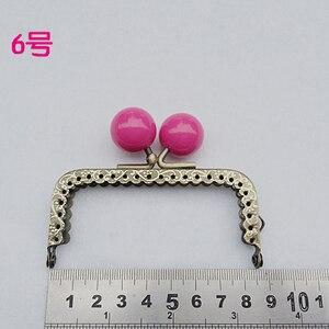 Image 4 - 8.5 cm renkli şeker topu öpücük toka mini düz tırtıllı çanta çerçeve sikke çanta yapımı metal toka donanım 10 adet/grup