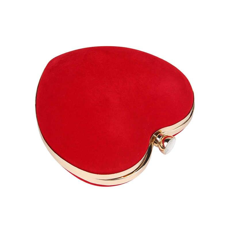 July's Lagu Malam Tas Berbentuk Hati Berlian Merah/Hitam Rantai Bahu Dompet Hari Clutch Tas untuk Pesta Pernikahan Perjamuan tas