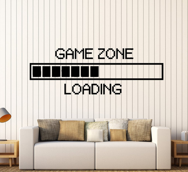ZOOYOO Game Zone Computer Gaming Wall Stickers Vinyl Home Decor Loading  Video Game Wallpaper Art Murals