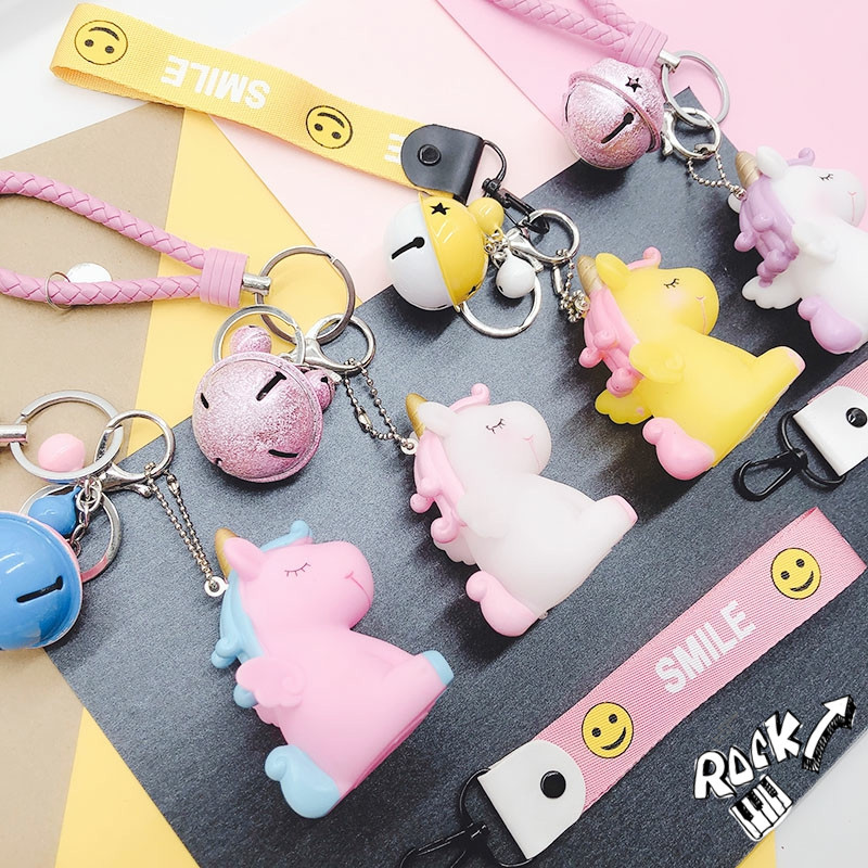 Cute 3D Cartoon Unicorn Keychain PVC Kids Key Holder Car Bag Pendant Charms Keyring Jewelry