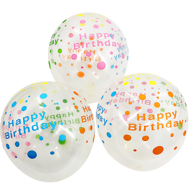 12inch HAPPY BIRTHDAY Transparent Print Balloons Baby Shower Latex
