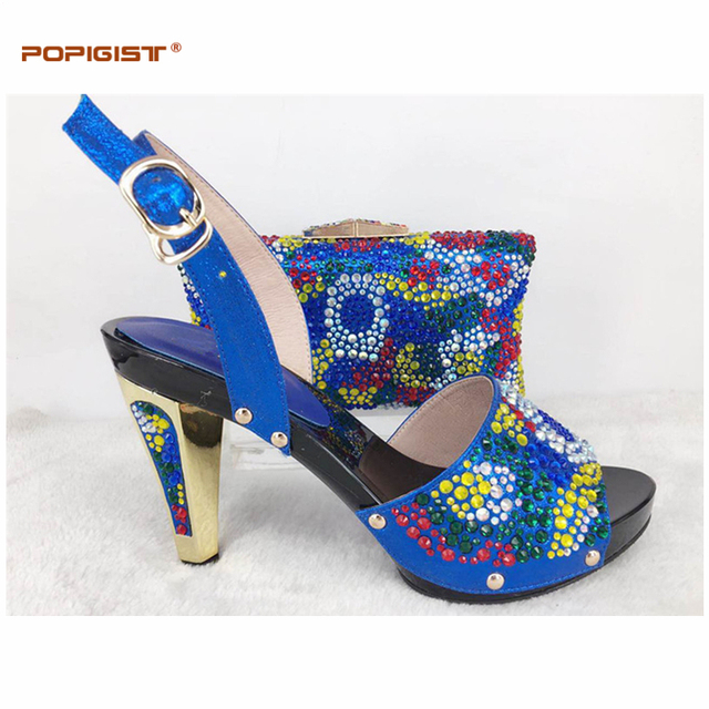 Sweet crystal ladies royal blue Shoes and Bag Set Decorated with Rhinestone  African Women Matching Italian Shoe and Bag Set 97ed7d56f897