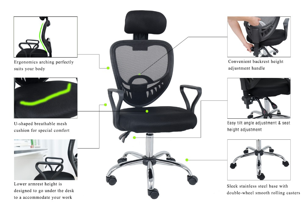 Aliexpress Wahson Mesh Office Chair High Back Ergonomic Executive Desk Reclining Task With Adjule Headrest Black From Reliable