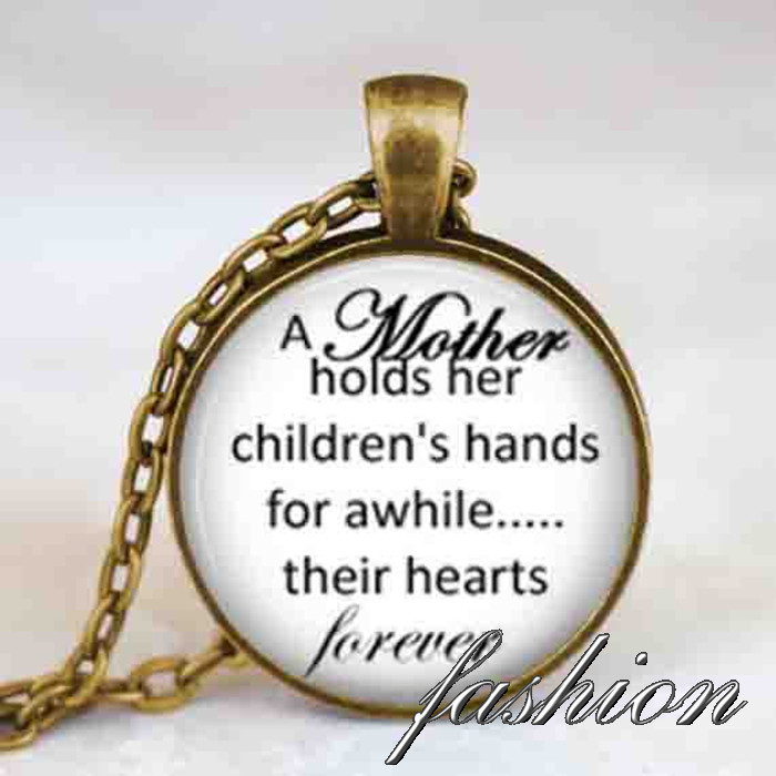 Mother child quote necklace , Mother holds her childrens hands jewelry, mothers day gift, mom mommy pendant, mothers day jewelry