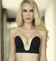 Deep V Neck U Style Silica Gel Invisible Strapless Unlined Bra Push Up Evening Dress