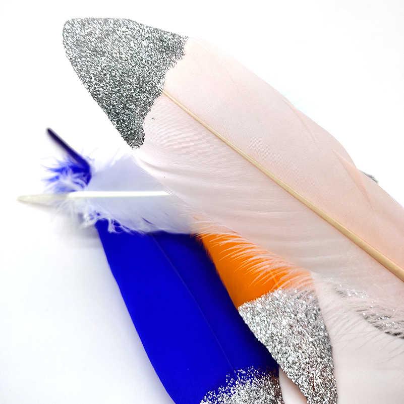 10 개/몫 스프레이 실버 파우더 화이트 거 위 깃털 16-20 cm 공예 모자 embellishments 꽃꽂이 소재 액세서리