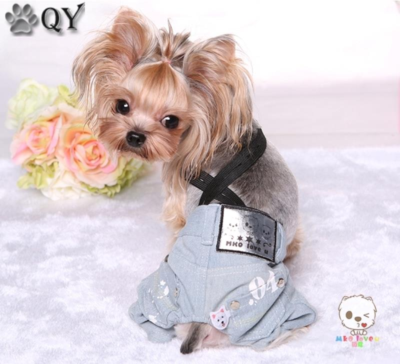 Denim Striped Male Dog Pants Clothing For Dogs Pet Yorkie Maltese Dog Clothes